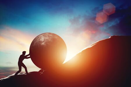 Man pushing huge concrete ball up hill. Sisyphus metaphor. Sisyphean work, big challenge concept. 3D illustration Stock Photo