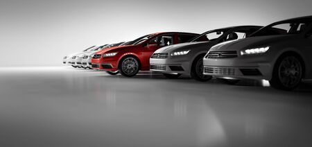 Compact cars fleet in the studio garage. A red one standing out. Choosing new car concept. Generic and brandless yet contemporary and elegant look. 3D illustration Stock Photo