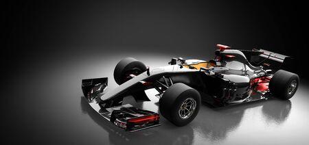 Modern fast race car in spotlight on black background. Speed, extreme sports. 3D illustration.
