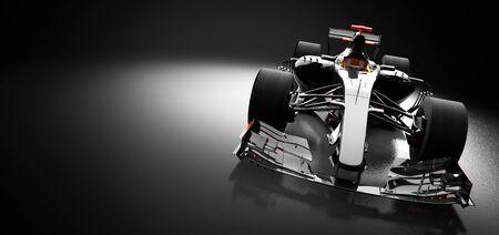 Modern fast race car in spotlight on black background. Speed, extreme sports. 3D illustration. Stock fotó