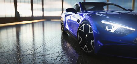 Modern blue coupe sports car in showroom with big windows. Front view. 3D illustration