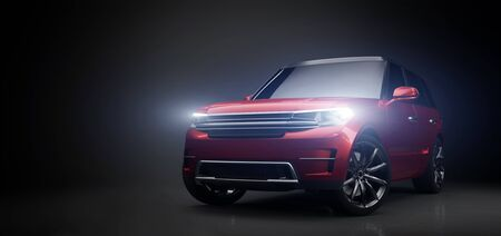 Coche SUV rojo moderno en garaje con luces encendidas. Vista frontal. Ilustración 3D. Vehículo contemporáneo genérico sin marca.