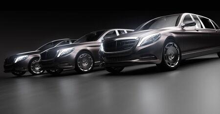 Luxuriöse Autos, Limousinen in der Garage mit eingeschaltetem Licht. Generisches und markenloses, aber zeitgemäßes und elegantes Aussehen. 3D-Darstellung