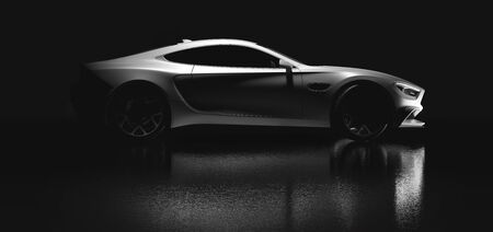 Modern white coupe sports car in a gentle light on black background. Side view outline. 3D illustration