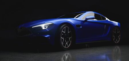 Modern blue coupe sports car in a gentle light on black background. 3D illustration