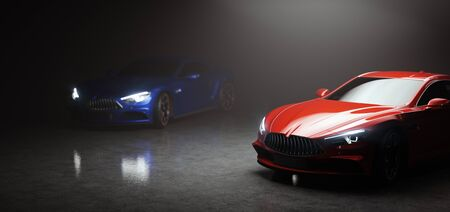 Two new modern cars in showroom on black . 3D illustration