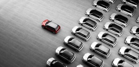 Flotte kleiner Stadtautos. Ein rotes Auto davor. Auswahl eines neuen Autokonzepts. 3D-Darstellung