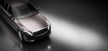Limo car, a premium luxury vehicle on black. Vip transport, rent a limousine concept. 3D illustration