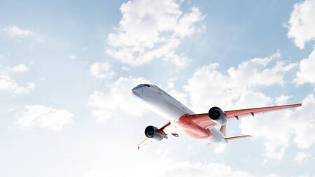 Commercial airplane flying on sunny blue sky. Passenger or cargo aircraft. 3D illustration