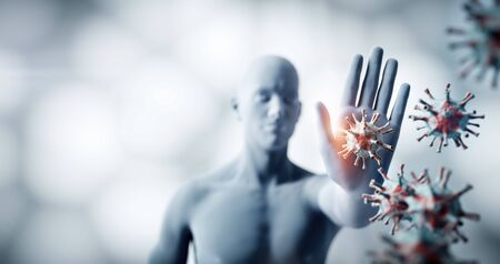 Man stopping coronavirus. Immune system defends from corona virus COVID-19. 3D render