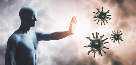 Hombre deteniendo el coronavirus. El sistema inmunológico se defiende del virus corona COVID-19. Render 3D Foto de archivo