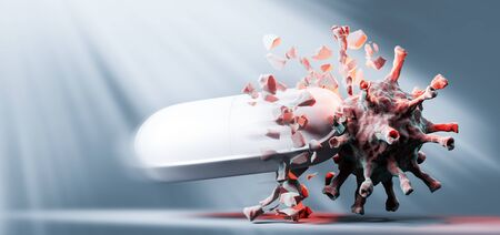 Effective drug, medicine against coronavirus COVID-19. Treatment research, hope for the future. 3D render