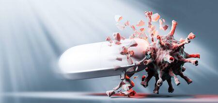 Médicament efficace, médicament contre le coronavirus COVID-19. Recherche de traitement, espoir pour l'avenir. rendu 3D