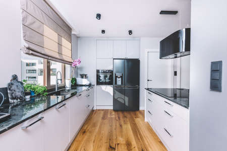 Modern kitchen interior design. Wooden floor and quartzite tabletop 写真素材