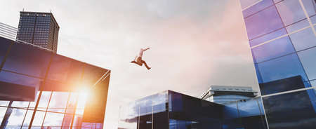 Man jumping between skyscrapers. Concept of business challenge, corporation ambition, success. 3D illustration