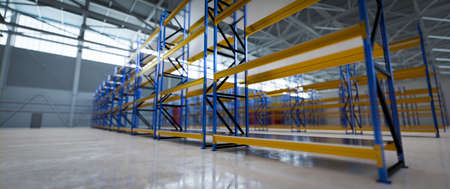 New empty warehouse for rent. Industrial storehouse, storage system. 3D render
