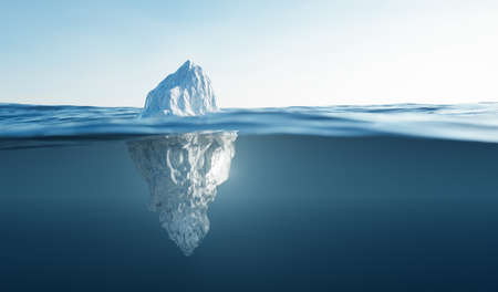 Tip of the iceberg. Half underwater. Also concepts of global warming and climate change