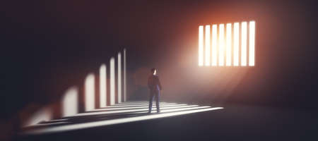 Businessman in jail looking at light coming from behind prison bars. Concept of economic offense, punishment but also hope of freedom. 3D illustration