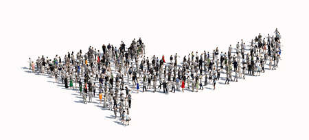 Large group of people making an arrow shape. Conceptual 3D illustration