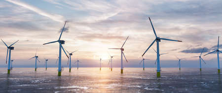 Offshore wind power and energy farm with many wind turbines on the ocean. Sustainable electricity production
