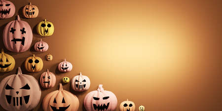 Halloween pumpkins background with empty space. Jack-o'-lantern scary carved face.