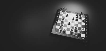 Chess game. Strategic desicion making. Plan and competition concept. Black and white.