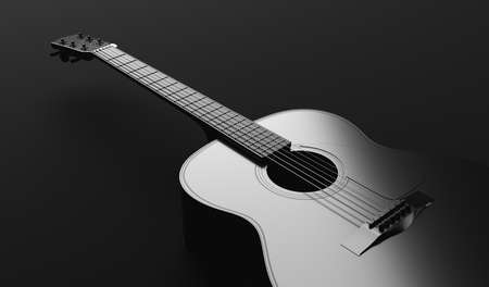 Classical acoustic guitar in black and white. Elegant music background. 3D illustration