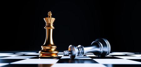 Chess game win and lose. Checkmate, strategic desicion and competition concept. Standard-Bild