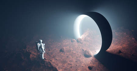 Astronaut on foreign planet in front of spacetime portal light. Science fiction universe exploration. 3D render