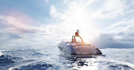 Catamaran motor yacht on the ocean at sunset