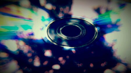 dvd rom: Macro close up of a dvd rom surface with reflections Stock Photo