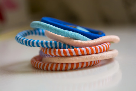 Colorful scrunchy of different colors, shapes
