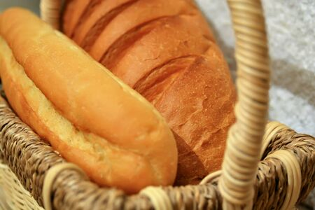 Beautiful view of fresh bread in the basket