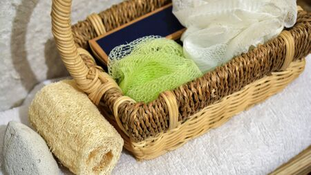 mat like: Beautiful view of spa accessories, basket and white towel