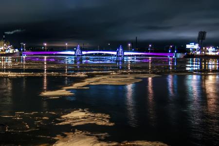 Beautiful view of bridge in the night, lights photo