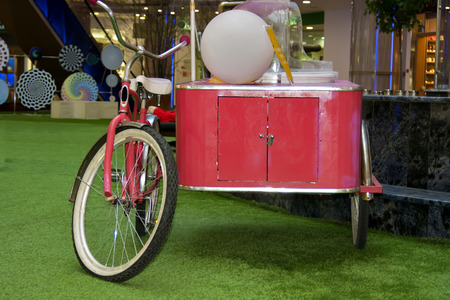 cotton candy: View of a cotton candy machine, pink color