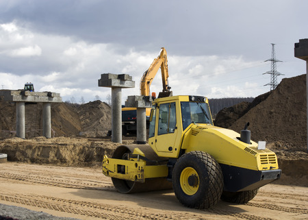 industrial machinery: View of yellow excavator