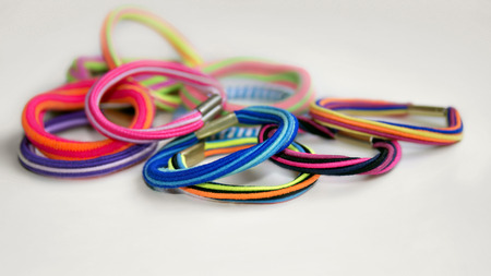 hairband: Colorful scrunchy of different colors, shapes