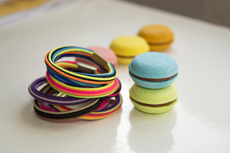 scrunchy: Colorful scrunchy and eraser of different colors, shapes