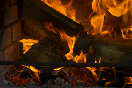 coals: Beautiful view of fire close, logs and coals Stock Photo