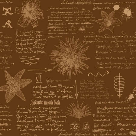 vector image of a seamless textural background in the style of notes from the diary of a botanist with sketches, formulas and notes Vektoros illusztráció