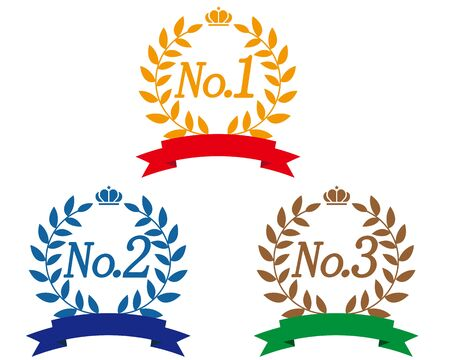 Crown Numbers Ribbon Laurel Ranking Set