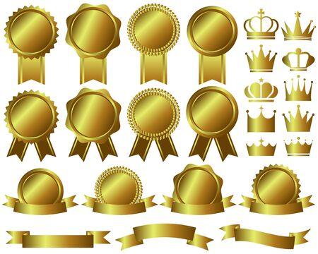 Crown Medal Ribbon Ranking Gold