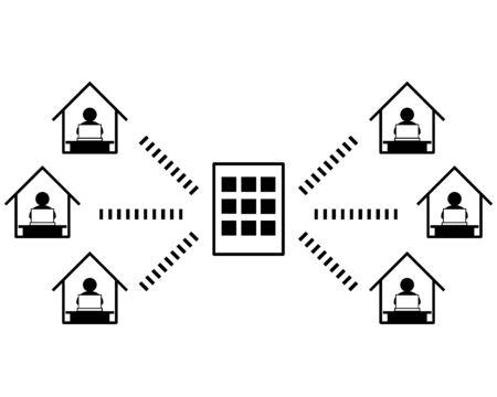 Vector illustration recommending remote work.  working from home Reklamní fotografie - 146734662