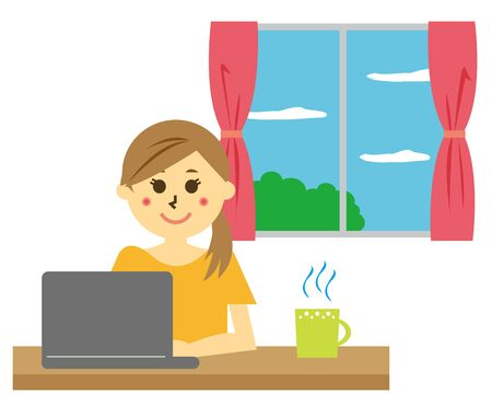 Vector illustration recommending remote work.  working from home Ilustrace