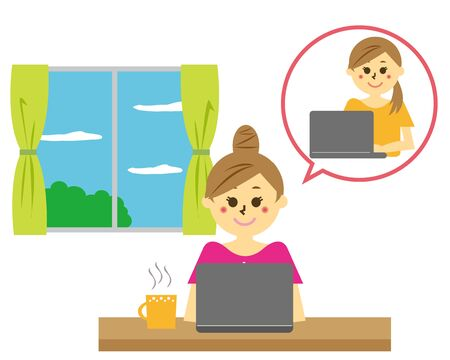 Vector illustration recommending remote work.  working from home Reklamní fotografie - 146734693