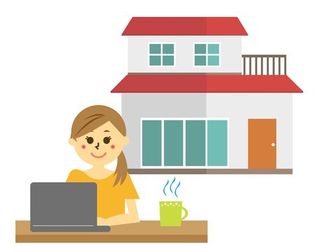 Vector illustration recommending remote work.  working from home  イラスト・ベクター素材