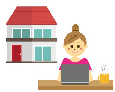 Vector illustration recommending remote work.  working from home Reklamní fotografie - 146734698
