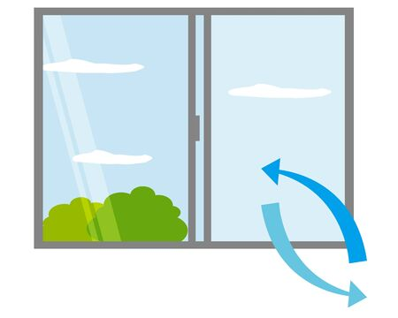 illustration Vector opening the window and replacing the air . Vektorgrafik