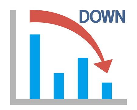 Down arrow vector, stock market, crash